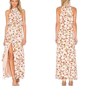 Lovers+Friends Floral Wrap Halter Maxi Dress Sz L